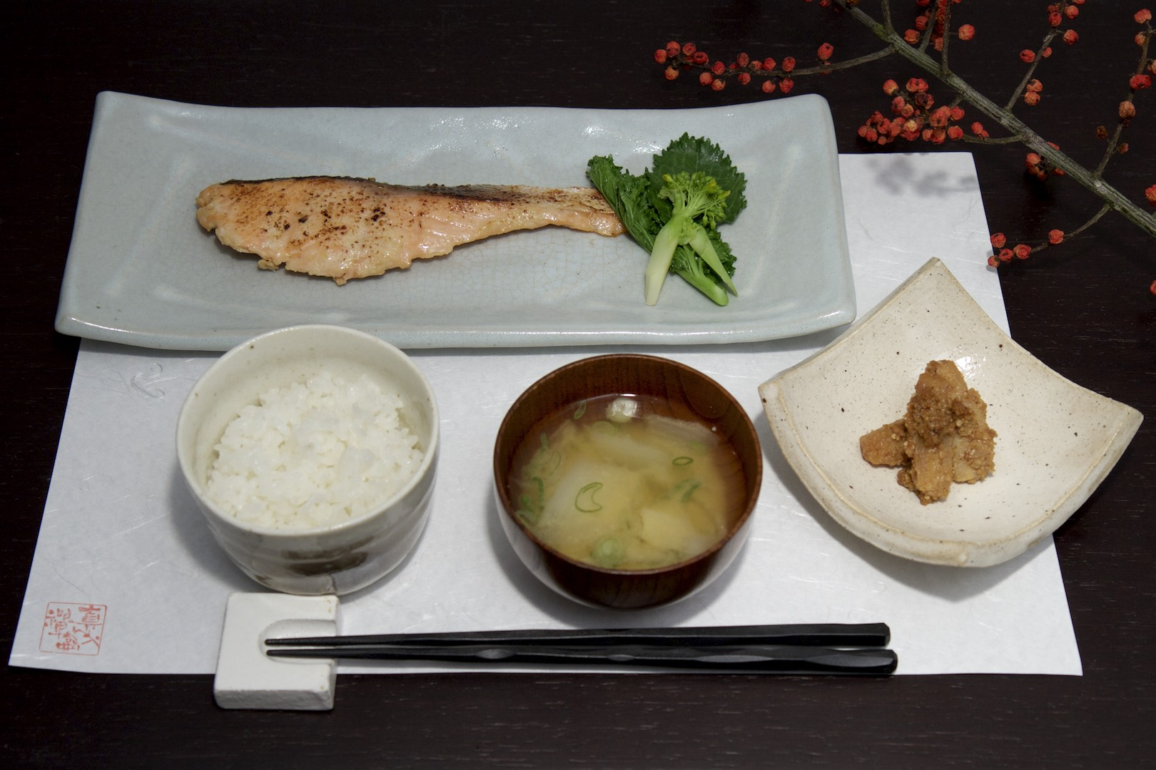 Lunch set – three days in homemade miso marinated, grilled organic Irish salmon; parsley root with sesame sauce, homemade miso soup from Swiss organic soy beans, organic Gokase rice